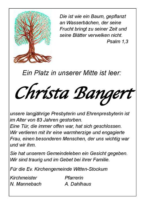 Nachruf Christa Bangert